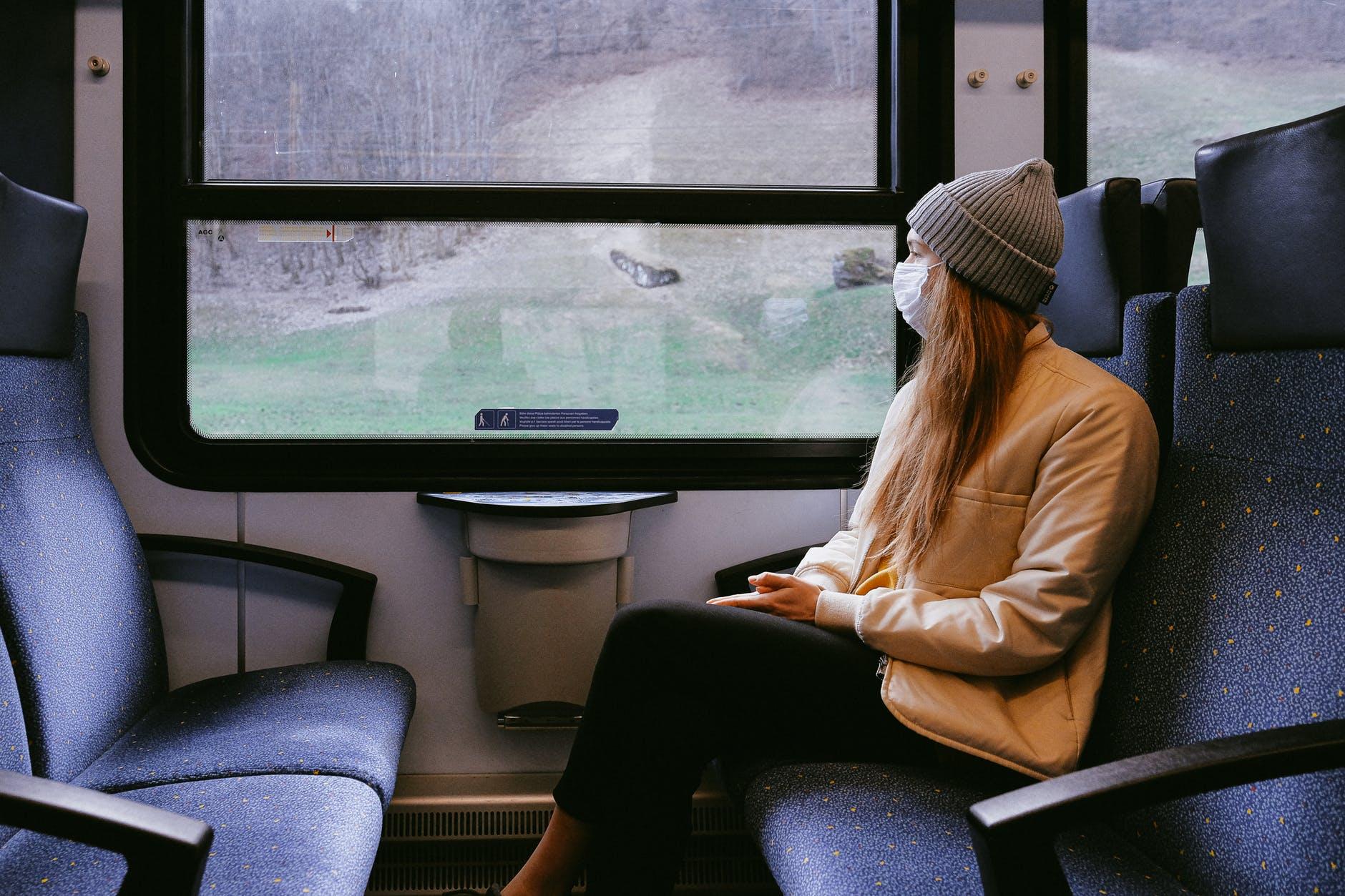 woman wearing mask on train